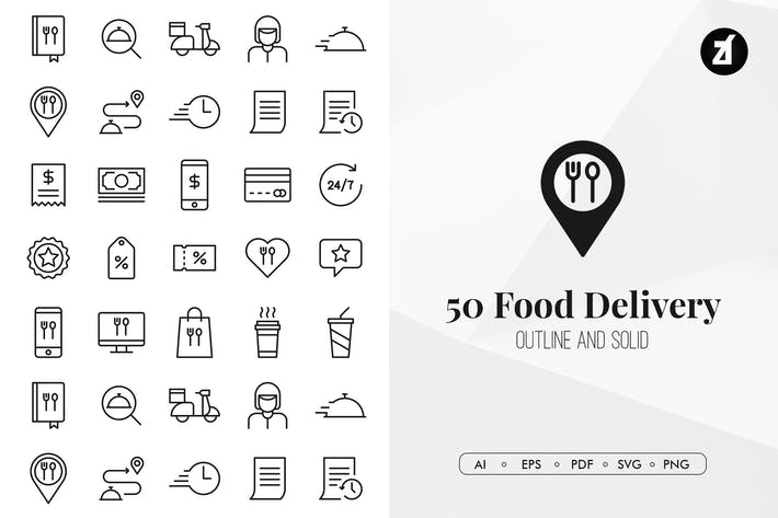 Thumbnail for 50 Food delivery elements in minimal design