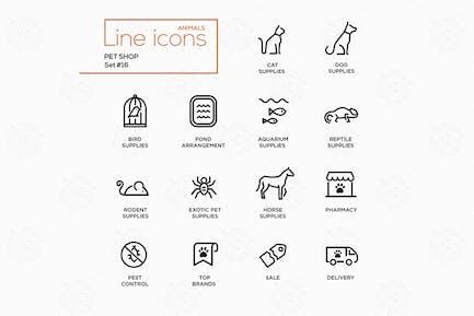 Pet Shop - Einzeilige Piktogramme Set