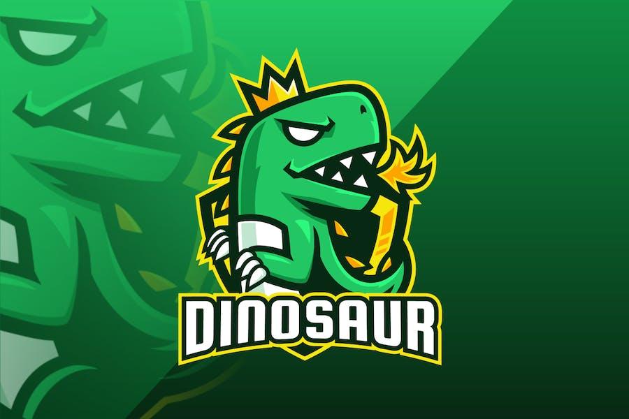Green Dinosaur Mascot Logo Design