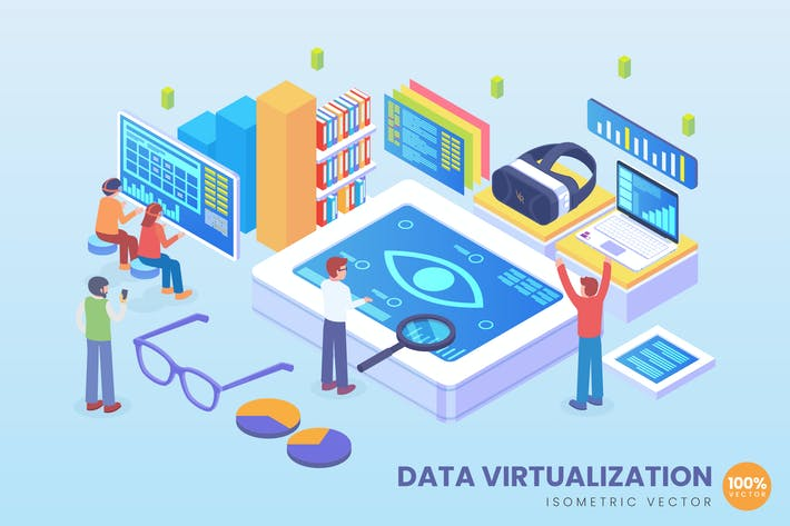 Thumbnail for Isometric Data Visualization Vector Concept