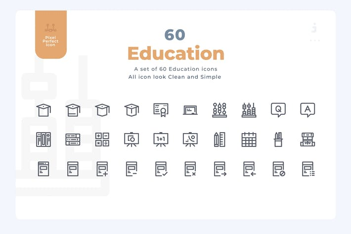 Thumbnail for 60 Education Icons - Material Icon