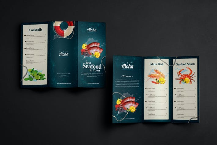cover image for seafood menu 3 fold