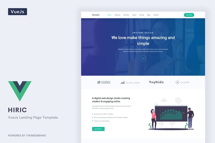 Thumbnail for Hiric - VueJs Landing Page Template