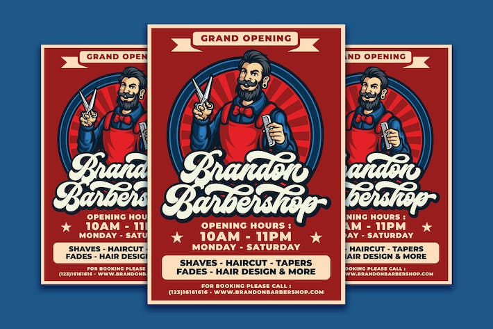 Thumbnail for Barbershop Retro Flyer Template