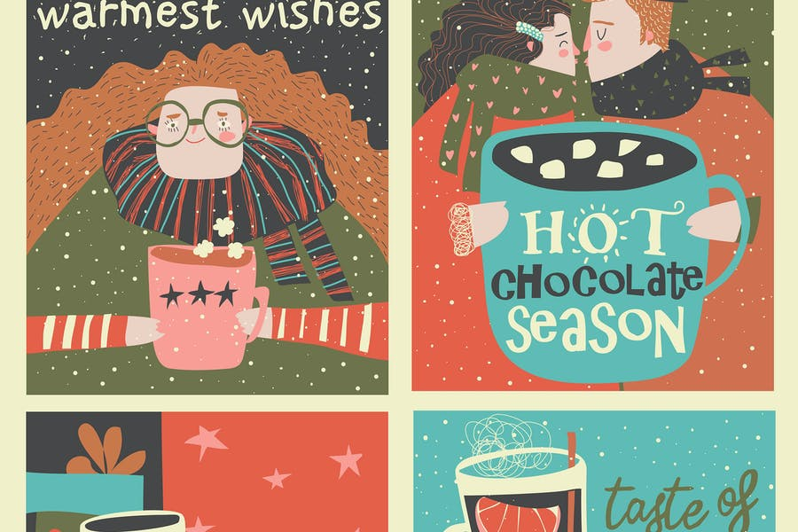 Vector set of cartoon christmas cards with winter