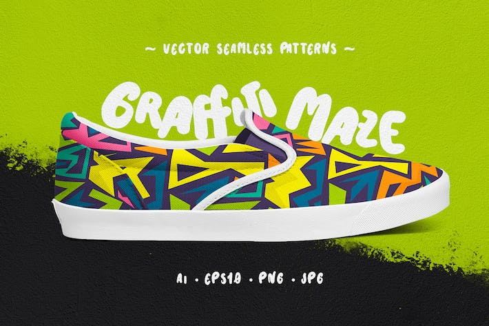 Thumbnail for Graffiti Maze Seamless Patterns