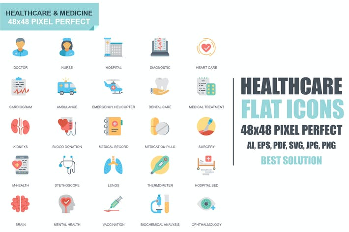 Thumbnail for Simple Set Healthcare and Medicine Flat Icons