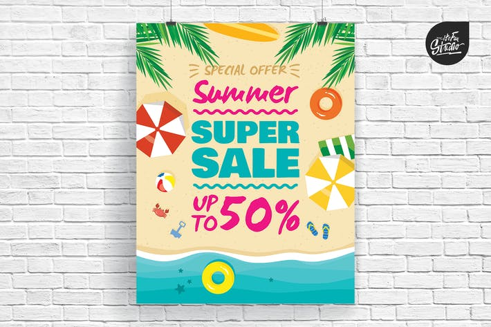 Cover Image For Summer Beach Super Sale Poster And Flyer