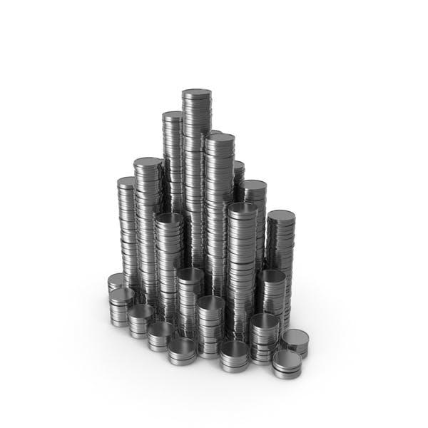 Стопки серебряных монет