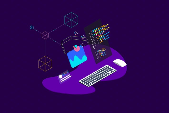Thumbnail for Blockchain Platform Isometric Illustration 12