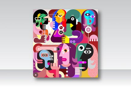 Large Group of People abstract fine art portrait