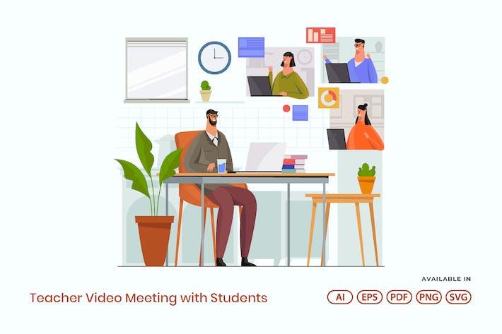 Lehrer-Video Meeting mit Schülern