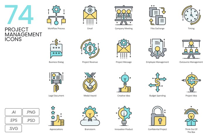 Thumbnail for 74 Project Management Icons | Aqua Series