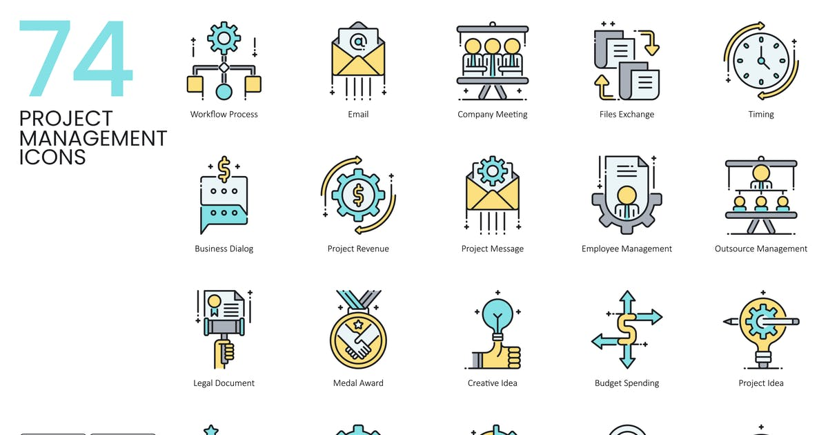 Download 74 Project Management Icons | Aqua by Krafted