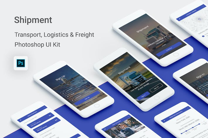 Thumbnail for Shipment - Logistic & Transport UI Kit (Photoshop)