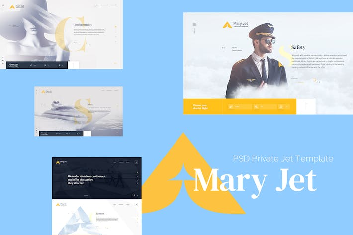Thumbnail for Mery Jet - PSD Private Jet Template