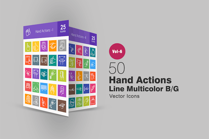 Thumbnail for 50 Hand Actions Line Multicolor B/G Icons