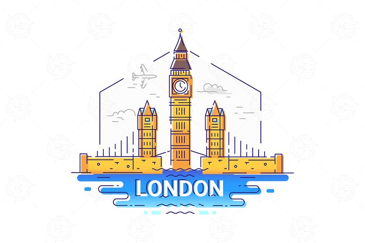 Thumbnail for London - modern vector line travel illustration