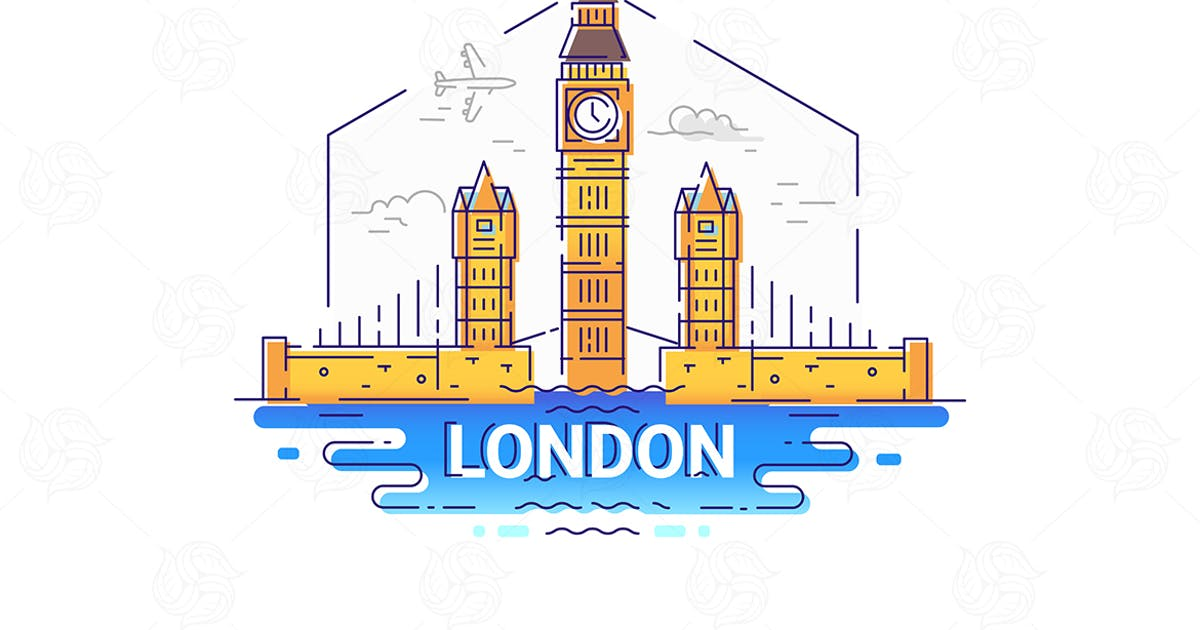 Download London - modern vector line travel illustration by BoykoPictures