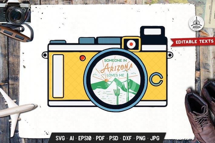 Thumbnail for Arizona Camp Adventure Badge, Retro Travel Design