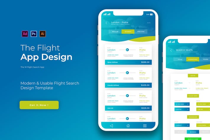 Thumbnail for Search Flight | App Design Template