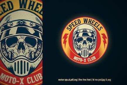 skull bike rider vintage logo