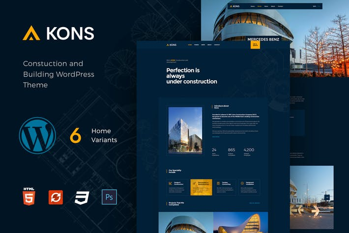 Thumbnail for Kons - Construction WordPress Theme