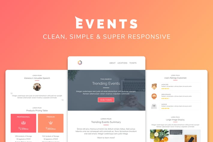 Thumbnail for Events Responsive Multipurpose Email Template