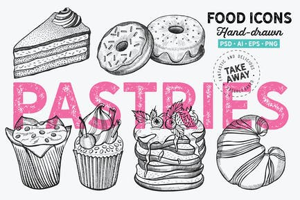 Graphique de pâtisseries Dessert dessiné à la main
