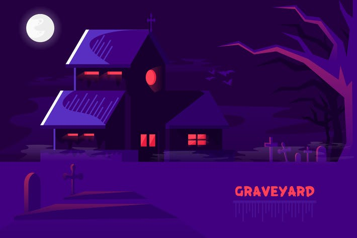 Thumbnail for GraveYard - Vector  Landscape & Building