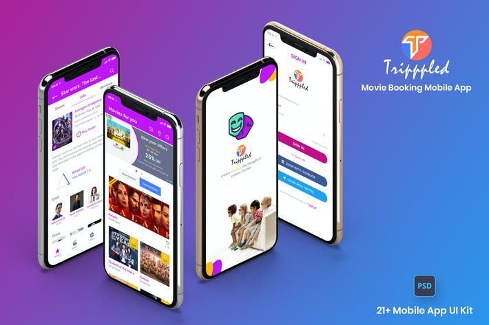 Thumbnail for Tripppled-Movie Booking Mobile App UI Kit