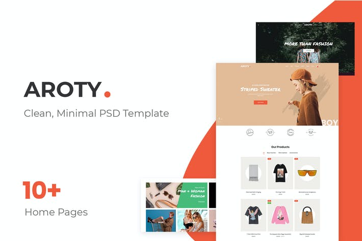 Thumbnail for Aroty - Clean, Minimal Shop PSD Template
