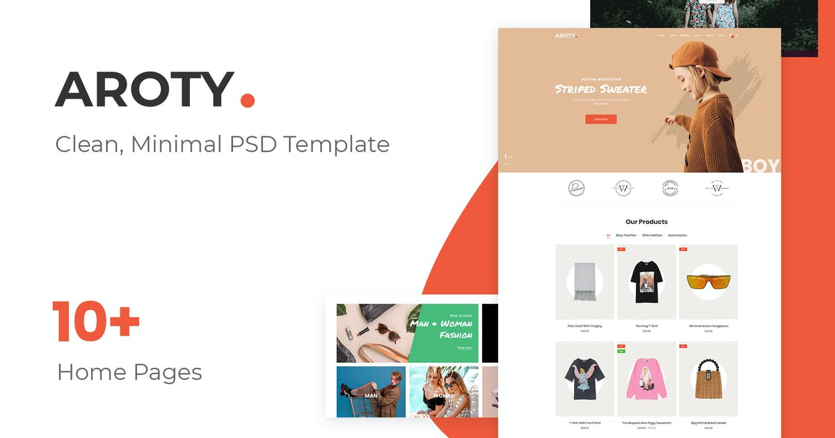 Download Aroty - Clean, Minimal Shop PSD Template by AuThemes