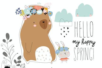 Oso lindo con conejito permaneciendo en plan de primavera