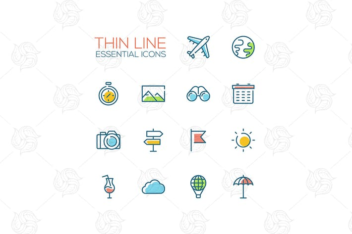 Travel Symbols - thin line design icons set