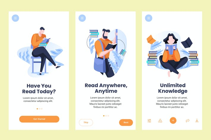Thumbnail for Onboarding Screen For Reading Apps PSD and AI