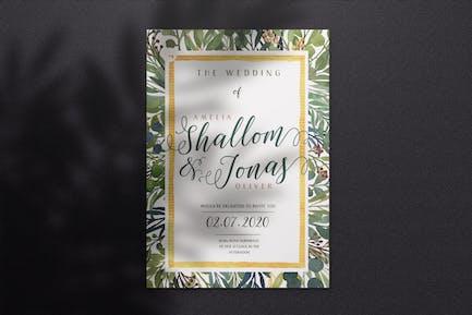 Watercolor Wedding Invitation A4 - Style 02