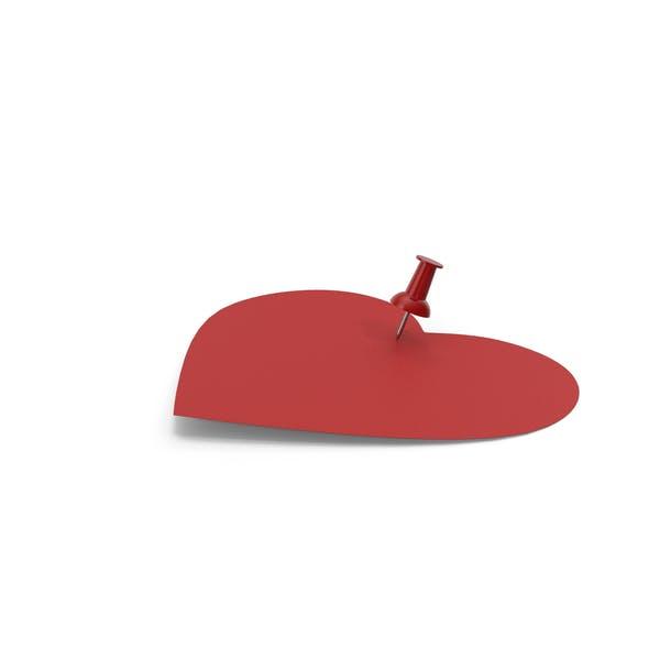 Красная бумага в форме сердца с красным штифтом
