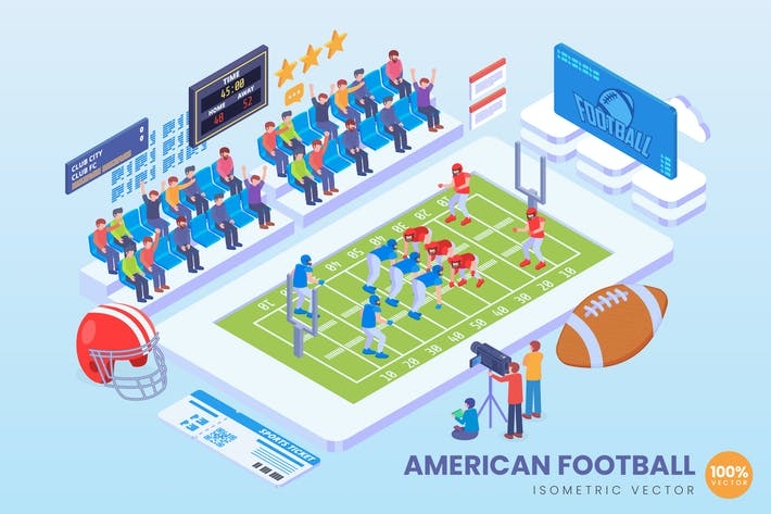 Thumbnail for Isometric American Football Vector Concept