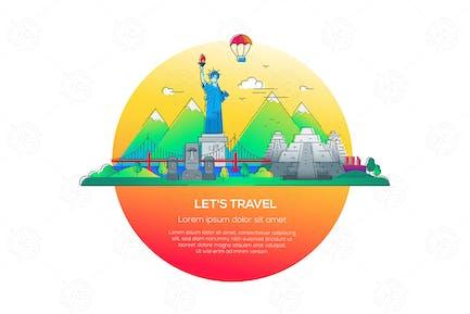 Let's travel - Vektor linie Reise Illustration