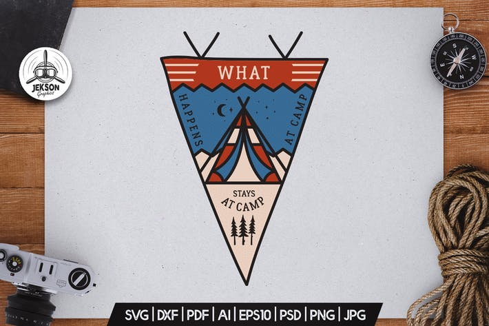 Thumbnail for Camping Pennant Badge Vector Retro Graphic Logo