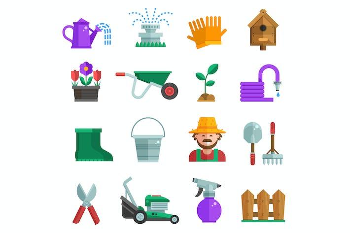 Spring Gardening Icons in Flat Design
