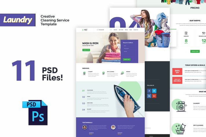 Thumbnail for Laundry - Creative Cleaning Service PSD Template