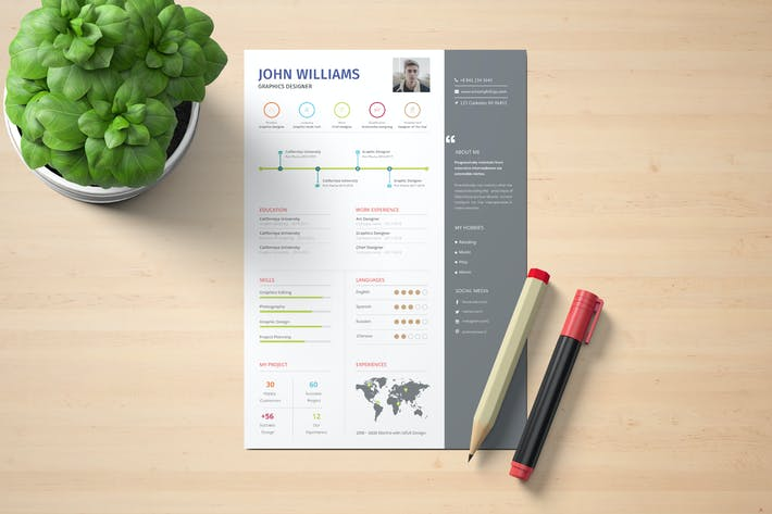 Thumbnail for Graphic Designer CV Template