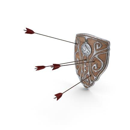Escudo de madera con flechas