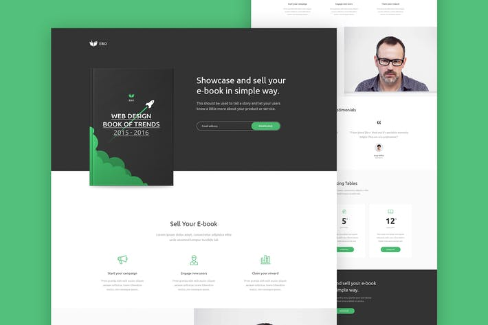 Thumbnail for Ebo - Ebook Landing Page PSD Template