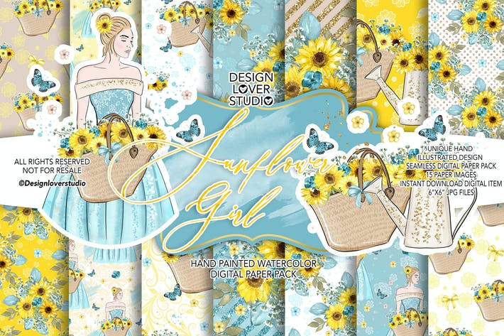 Thumbnail for Sunflower Girl digital paper pack