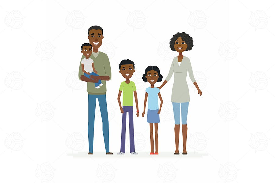 Happy African family - vector illustration