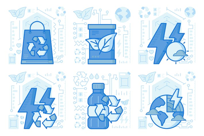Thumbnail for Plastic Recycling UI UX Illustrations