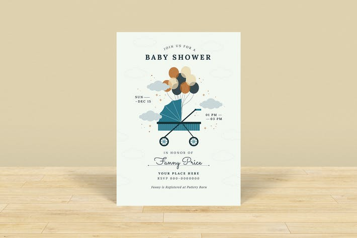Thumbnail for Stroller Baby Shower Invitation